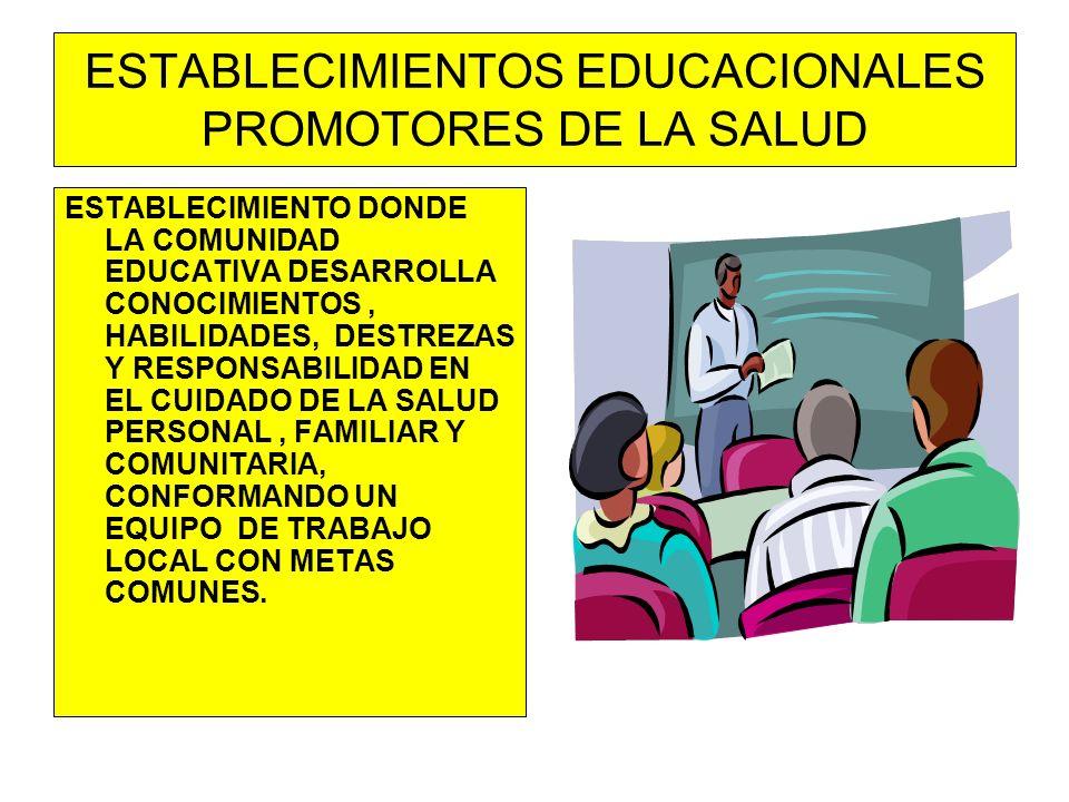 ESTABLECIMIENTOS EDUCACIONALES PROMOTORES DE LA SALUD ESTABLECIMIENTO DONDE LA COMUNIDAD EDUCATIVA DESARROLLA CONOCIMIENTOS, HABILIDADES, DESTREZAS Y