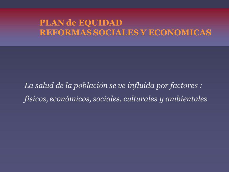 PLAN de EQUIDAD REFORMAS SOCIALES Y ECONOMICAS La salud de la población se ve influida por factores : físicos, económicos, sociales, culturales y ambi