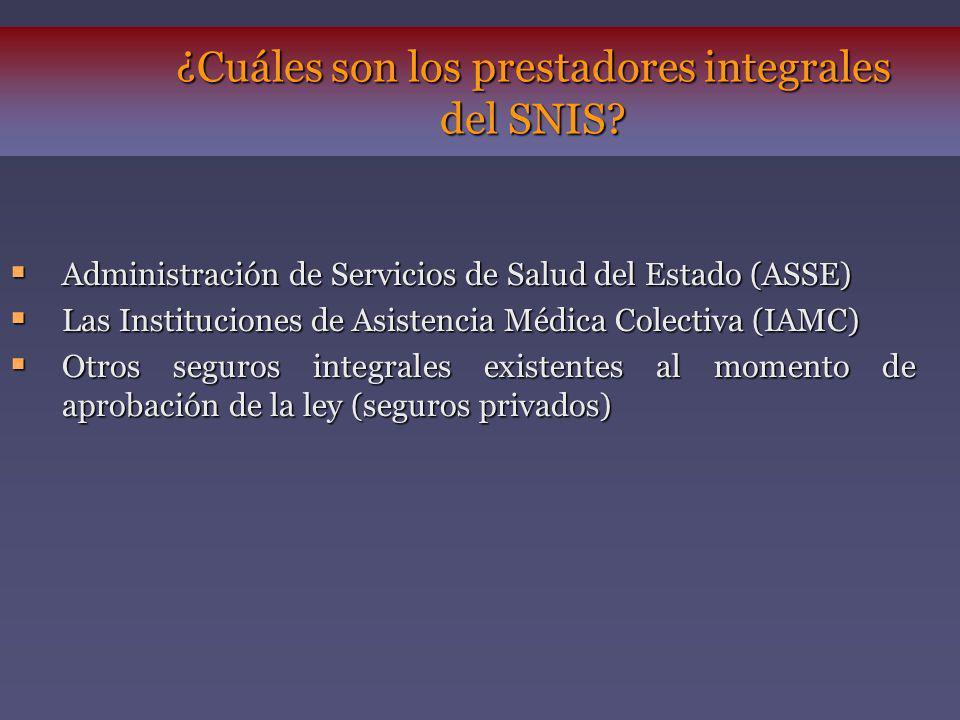 ¿Cuáles son los prestadores integrales del SNIS? Administración de Servicios de Salud del Estado (ASSE) Administración de Servicios de Salud del Estad