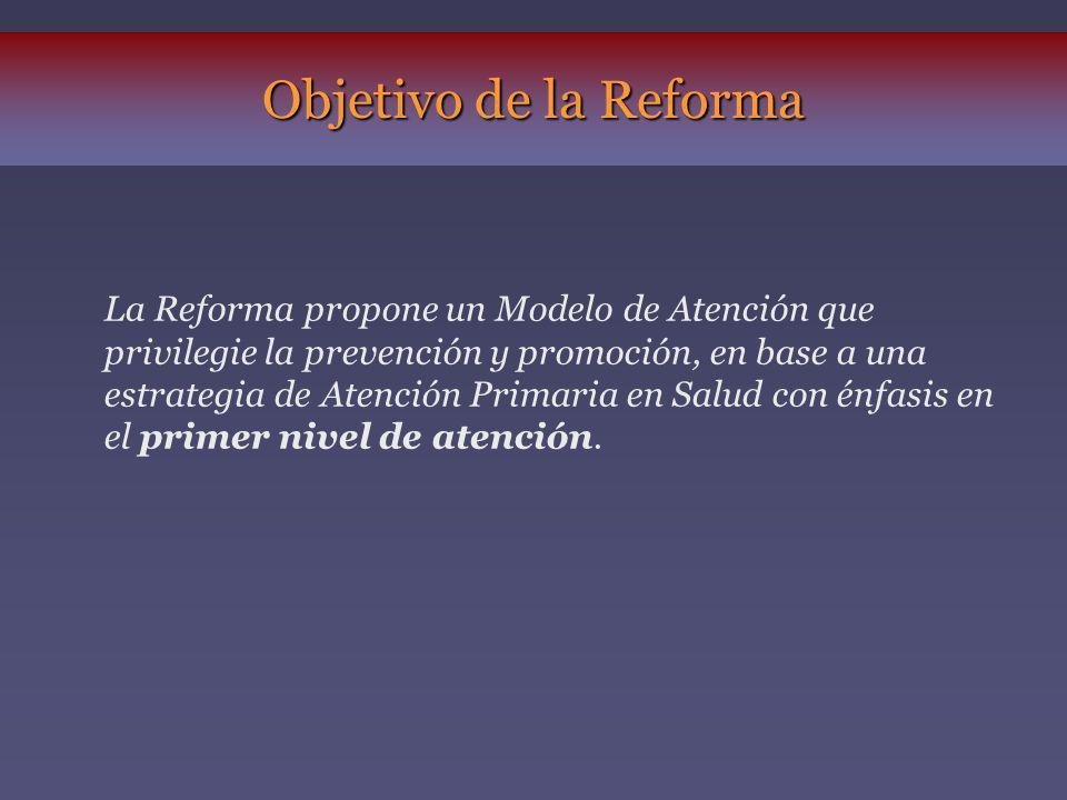 La Reforma propone un Modelo de Atención que privilegie la prevención y promoción, en base a una estrategia de Atención Primaria en Salud con énfasis