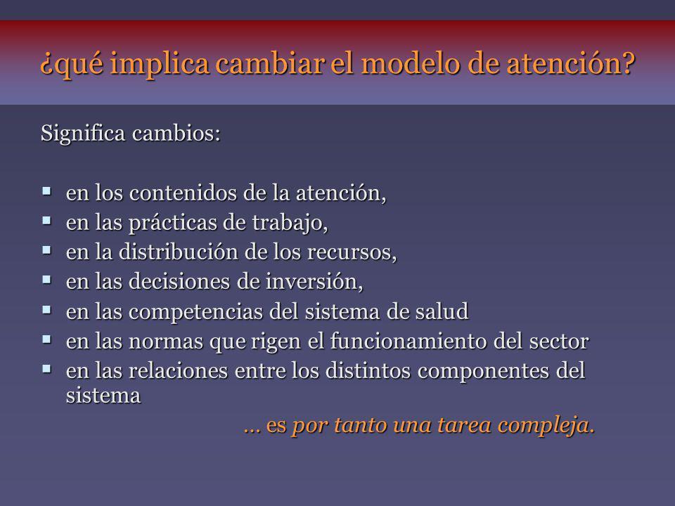 Significa cambios: en los contenidos de la atención, en los contenidos de la atención, en las prácticas de trabajo, en las prácticas de trabajo, en la
