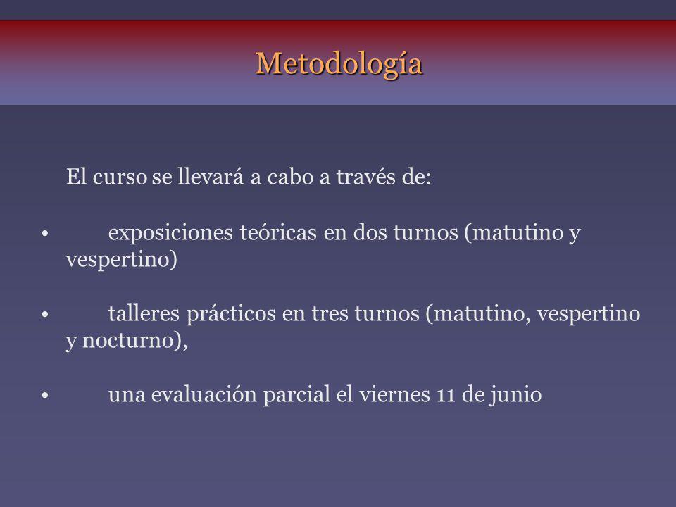 Metodología El curso se llevará a cabo a través de: exposiciones teóricas en dos turnos (matutino y vespertino) talleres prácticos en tres turnos (mat