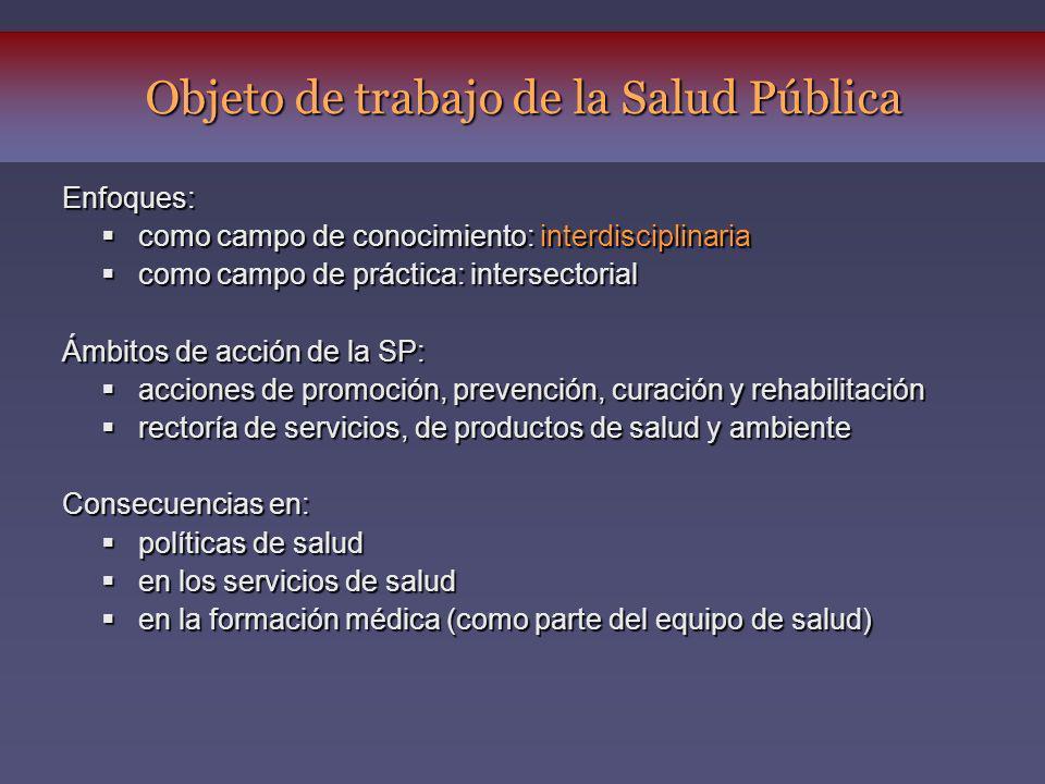 Objeto de trabajo de la Salud Pública Enfoques: como campo de conocimiento: interdisciplinaria como campo de conocimiento: interdisciplinaria como cam