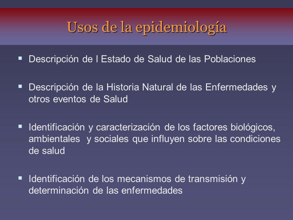 Descripción de l Estado de Salud de las Poblaciones Descripción de la Historia Natural de las Enfermedades y otros eventos de Salud Identificación y c