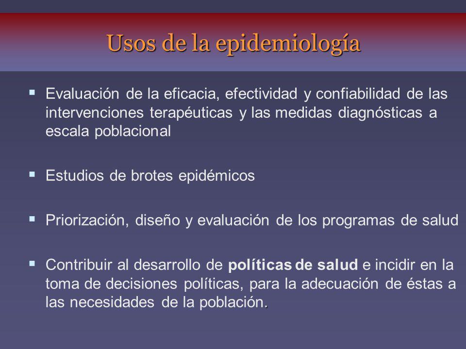 Evaluación de la eficacia, efectividad y confiabilidad de las intervenciones terapéuticas y las medidas diagnósticas a escala poblacional Estudios de