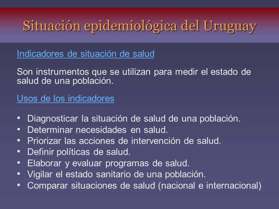 Indicadores de situación de salud Son instrumentos que se utilizan para medir el estado de salud de una población. Usos de los indicadores Diagnostica