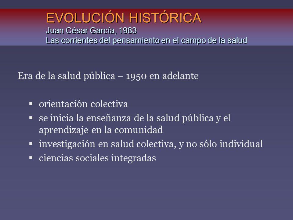 EVOLUCIÓN HISTÓRICA Juan César García, 1983 Las corrientes del pensamiento en el campo de la salud Era de la salud pública – 1950 en adelante orientac