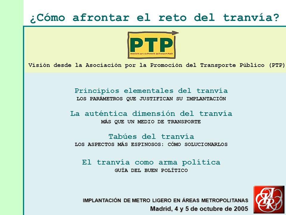 Principios elementales del tranvía LOS PARÁMETROS QUE JUSTIFICAN SU IMPLANTACIÓN La auténtica dimensión del tranvía MÁS QUE UN MEDIO DE TRANSPORTE Tabúes del tranvía LOS ASPECTOS MÁS ESPINOSOS: CÓMO SOLUCIONARLOS El tranvía como arma política GUÍA DEL BUEN POLÍTICO ¿Cómo afrontar el reto del tranvía.
