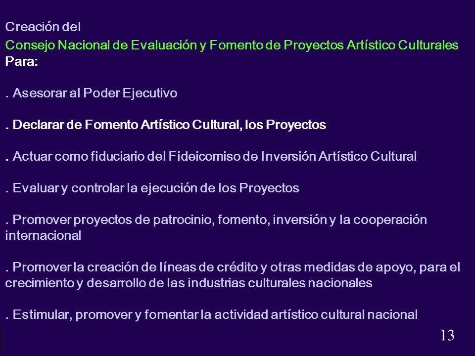 Creación del Consejo Nacional de Evaluación y Fomento de Proyectos Artístico Culturales Para:. Asesorar al Poder Ejecutivo. Declarar de Fomento Artíst