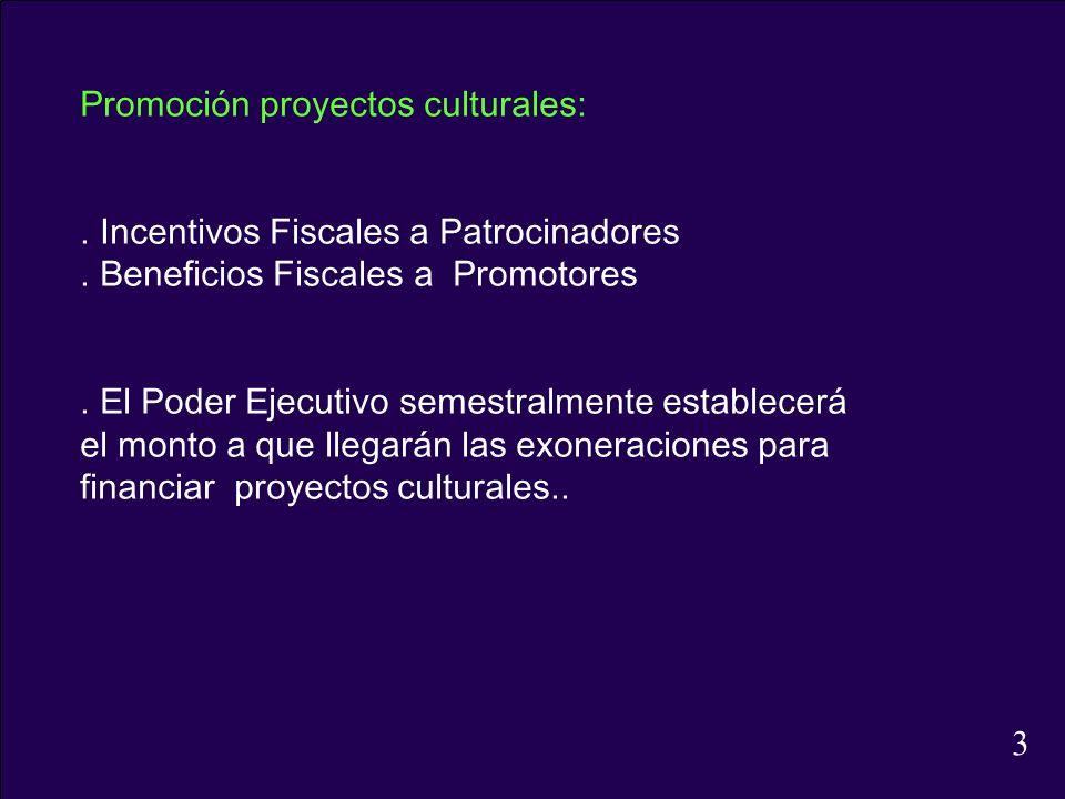 Promoción proyectos culturales:. Incentivos Fiscales a Patrocinadores. Beneficios Fiscales a Promotores. El Poder Ejecutivo semestralmente establecerá