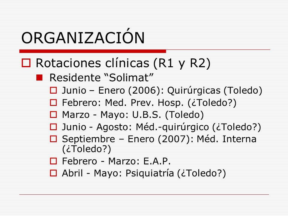 ORGANIZACIÓN Rotaciones clínicas (R1 y R2) Residente Unión de Mutuas Junio – Agosto: Médico-quirúrgicas Septiembre – Enero (2006): Med.