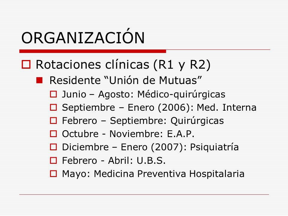 ORGANIZACIÓN Rotaciones en servicios de prevención (R3 y R4) Gestión de los servicios de prevención Gestión de la prevención de riesgos laborales Enferm.