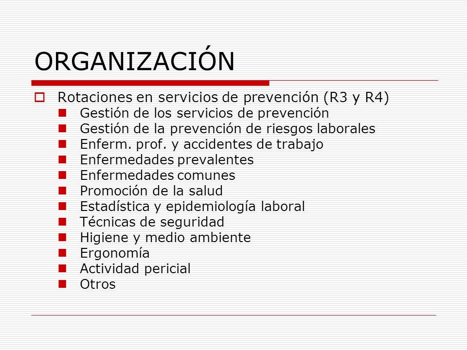 ORGANIZACIÓN Rotaciones en servicios de prevención (R3 y R4) Gestión de los servicios de prevención Gestión de la prevención de riesgos laborales Enfe