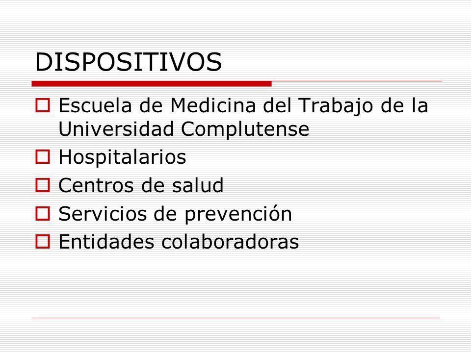 DISPOSITIVOS Hospitalarios Hospital 12 de Octubre Hospital de Fremap (Majadahonda) Hospitales de Fraternidad (Madrid) Clínica Solimat (Toledo)