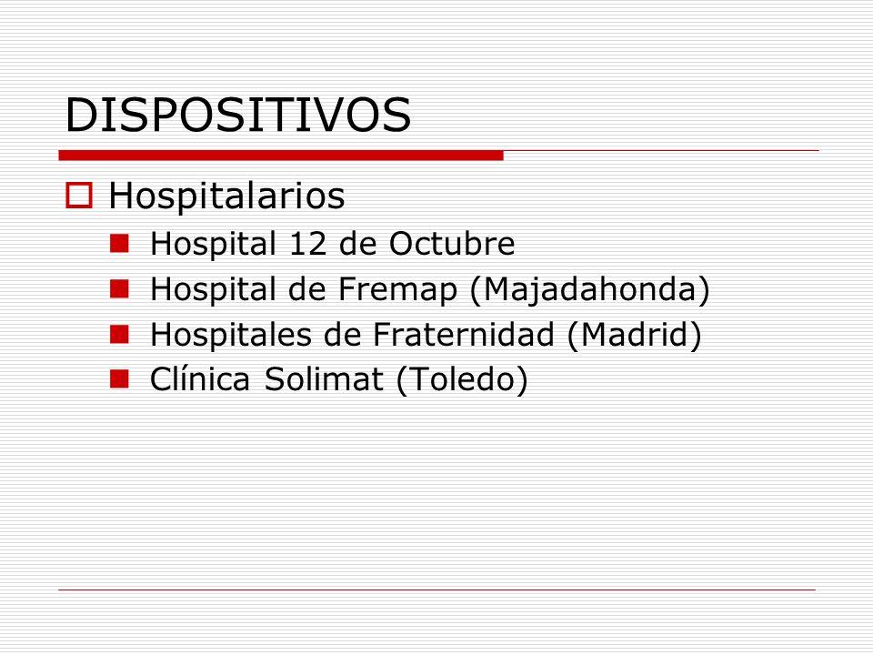 DISPOSITIVOS Centros de salud (E.A.P.) Área 11: > 6 centros Unidades básicas de salud Fremap (Madrid) Fraternidad (Madrid) Ibermutuamur (Madrid) Solimat (Toledo) Unión de mutuas (Madrid)