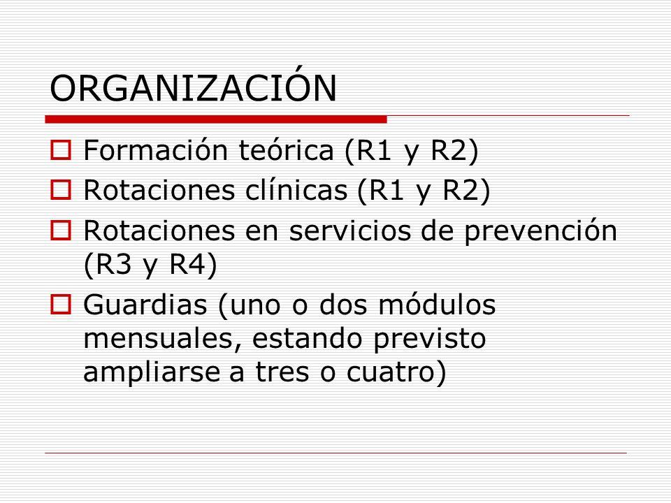 ORGANIZACIÓN Formación teórica (R1 y R2) Programa curso superior Área básica: 130 horas Área clínica: 300 horas Área prevención y promoción: 75 horas Área pericial: 75 horas Área de prev.