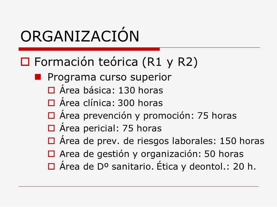 ORGANIZACIÓN Curso superior (R1 y R2) Martes y jueves; de 15.00 a 20.00.