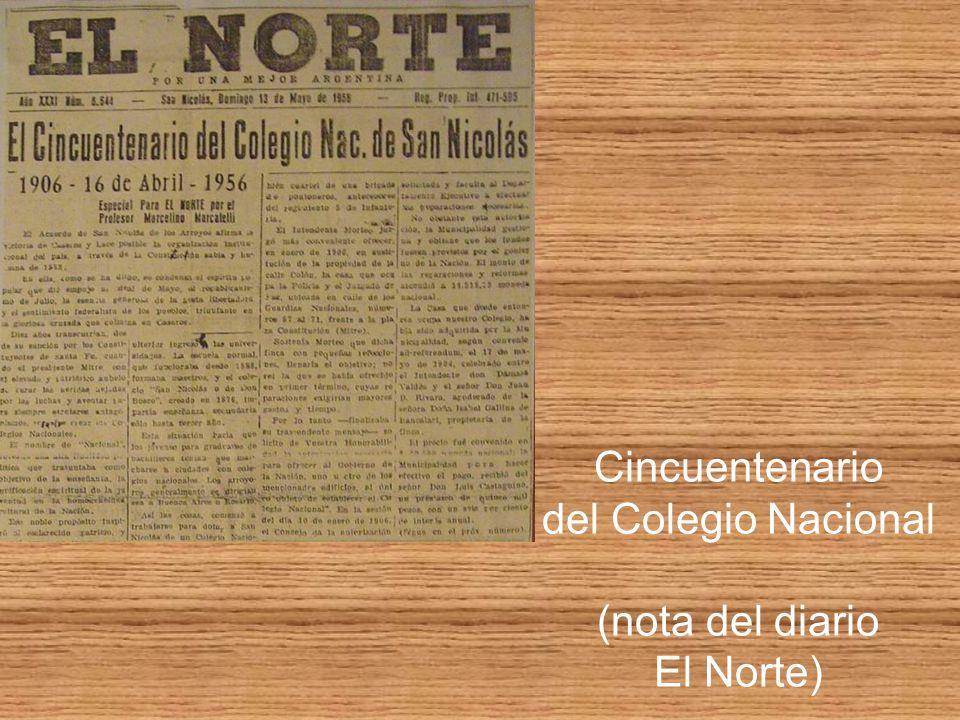 Cincuentenario del Colegio Nacional (nota del diario El Norte)