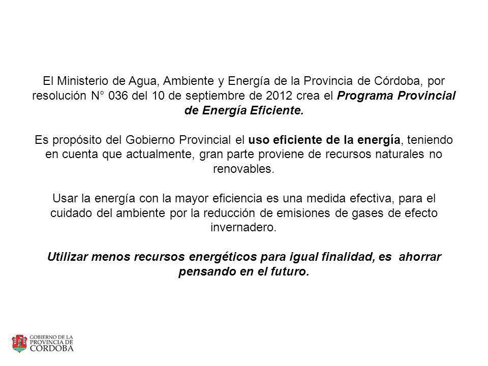 El Ministerio de Agua, Ambiente y Energía de la Provincia de Córdoba, por resolución N° 036 del 10 de septiembre de 2012 crea el Programa Provincial d