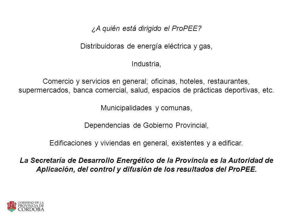 ¿A quién está dirigido el ProPEE? Distribuidoras de energía eléctrica y gas, Industria, Comercio y servicios en general; oficinas, hoteles, restaurant