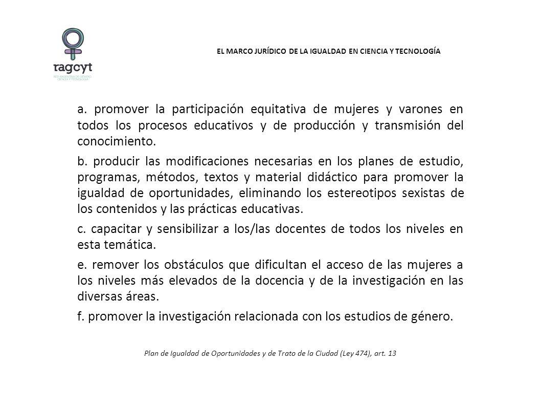 EL MARCO JURÍDICO DE LA IGUALDAD EN CIENCIA Y TECNOLOGÍA a.