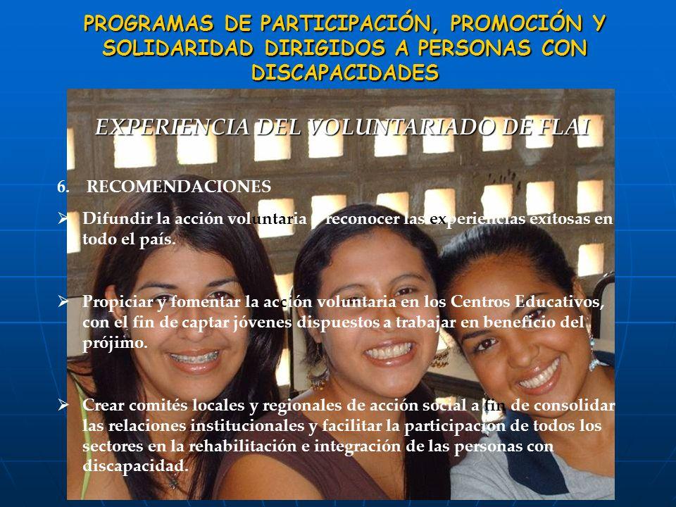 PROGRAMAS DE PARTICIPACIÓN, PROMOCIÓN Y SOLIDARIDAD DIRIGIDOS A PERSONAS CON SOLIDARIDAD DIRIGIDOS A PERSONAS CONDISCAPACIDADES EXPERIENCIA DEL VOLUNT