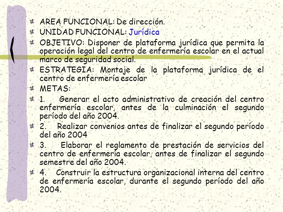 AREA FUNCIONAL: De dirección. UNIDAD FUNCIONAL: Jurídica OBJETIVO: Disponer de plataforma jurídica que permita la operación legal del centro de enferm