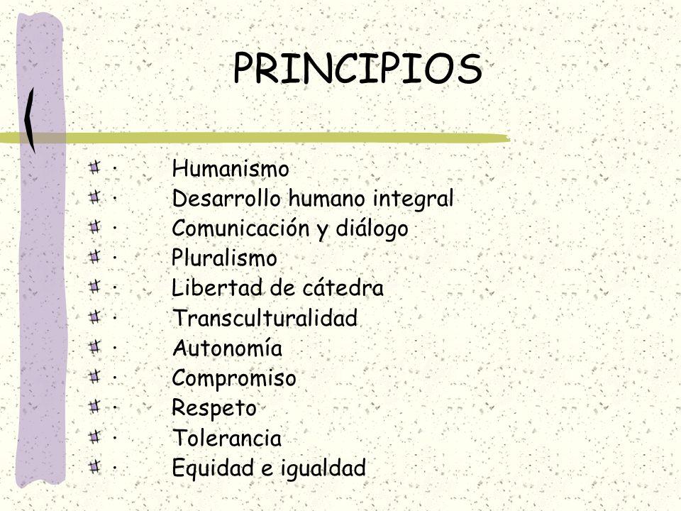 PRINCIPIOS · Humanismo · Desarrollo humano integral · Comunicación y diálogo · Pluralismo · Libertad de cátedra · Transculturalidad · Autonomía · Comp