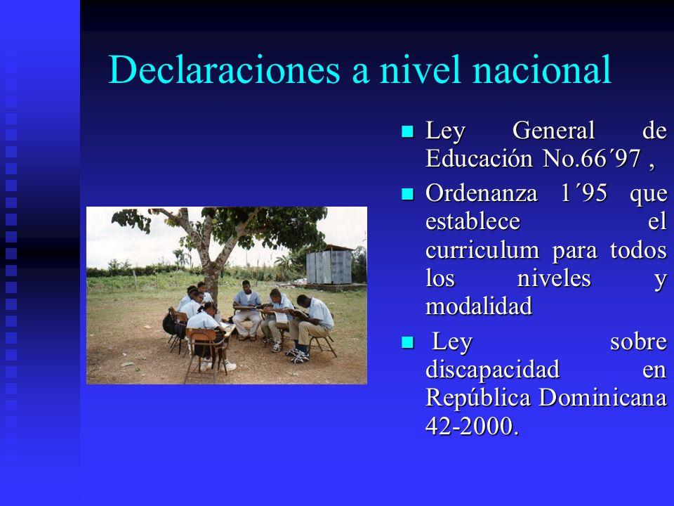 Declaraciones Internacionales Convención de los Derechos del Niño de las Naciones Unidas, en 1989, ratificada para la República Dominicana en el año 1
