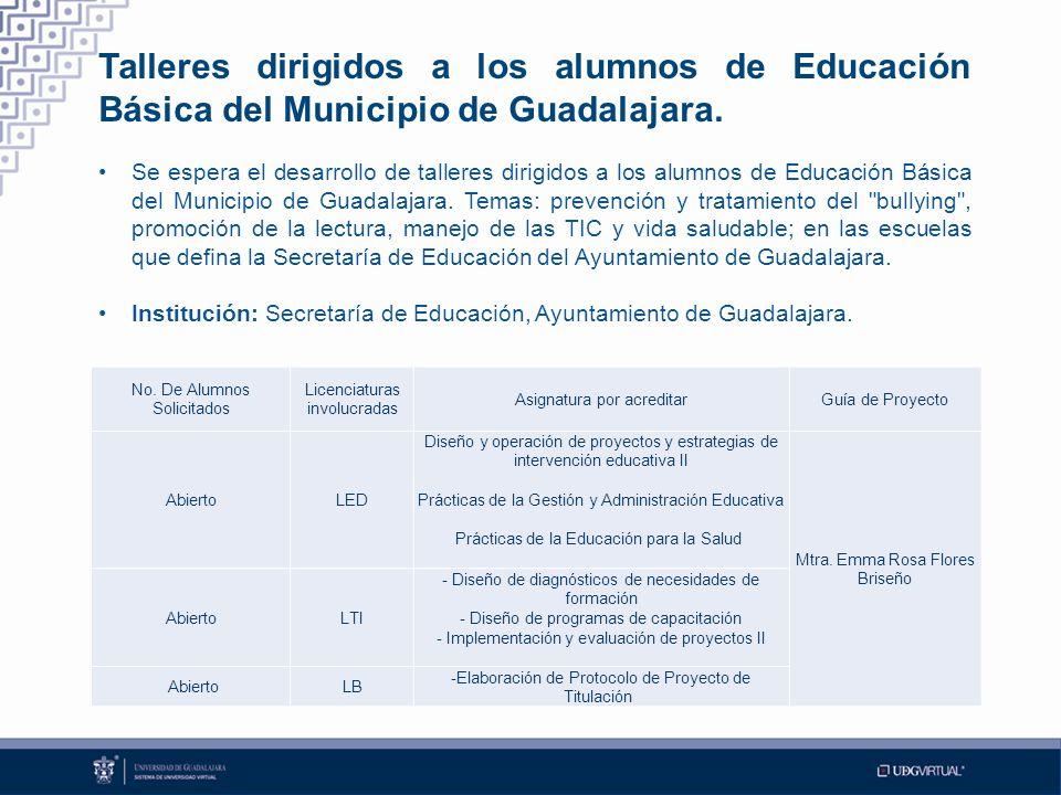 Talleres dirigidos a los alumnos de Educación Básica del Municipio de Guadalajara.