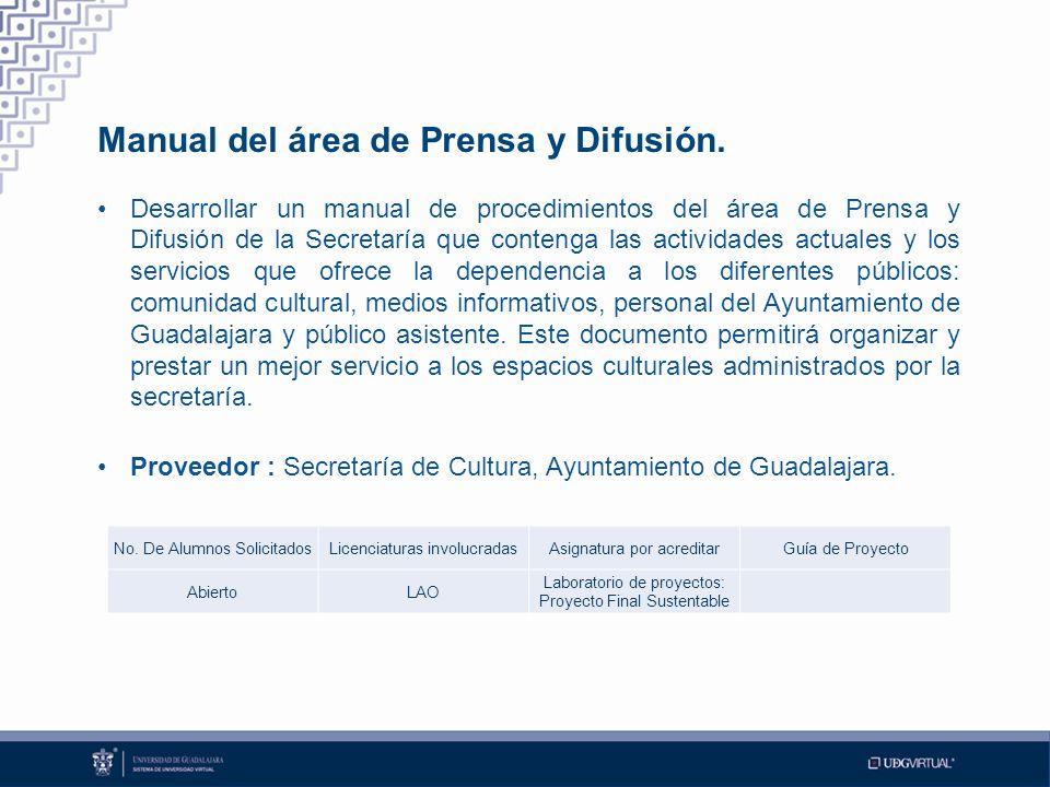 Manual del área de Prensa y Difusión.
