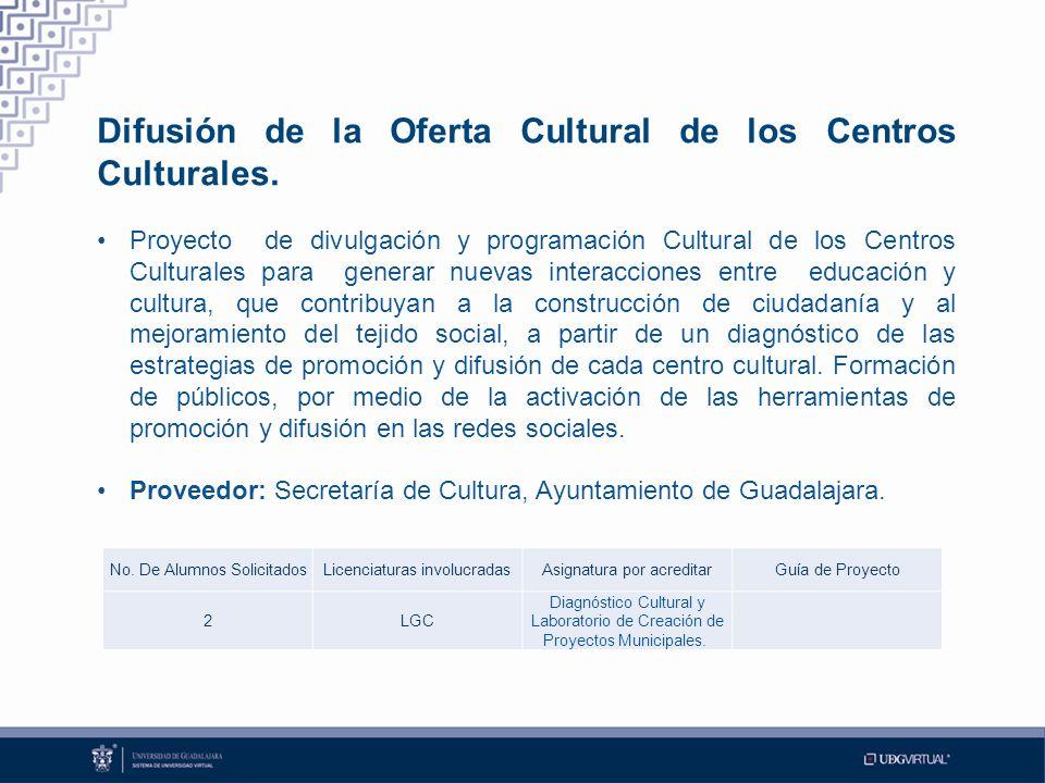 Difusión de la Oferta Cultural de los Centros Culturales.