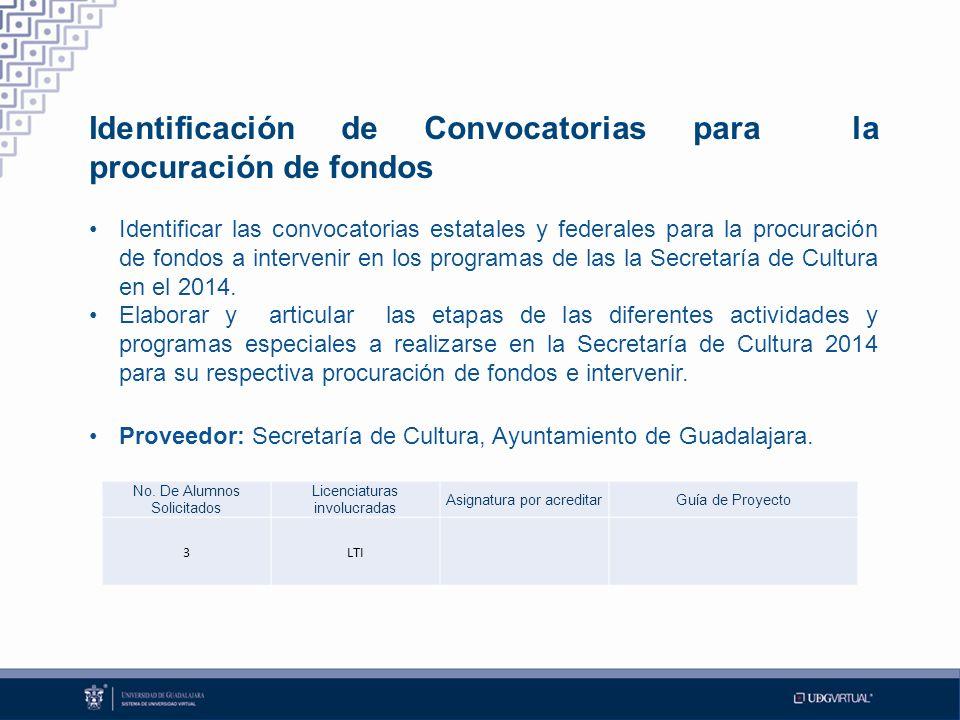 Identificación de Convocatorias para la procuración de fondos Identificar las convocatorias estatales y federales para la procuración de fondos a intervenir en los programas de las la Secretaría de Cultura en el 2014.