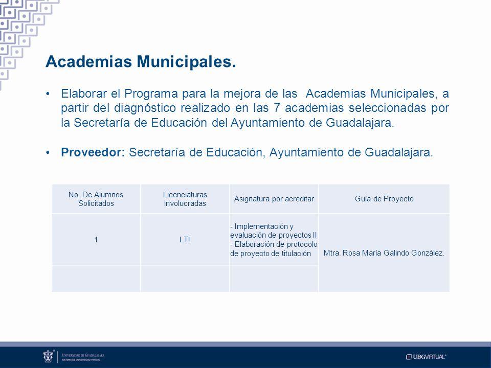 Academias Municipales. Elaborar el Programa para la mejora de las Academias Municipales, a partir del diagnóstico realizado en las 7 academias selecci