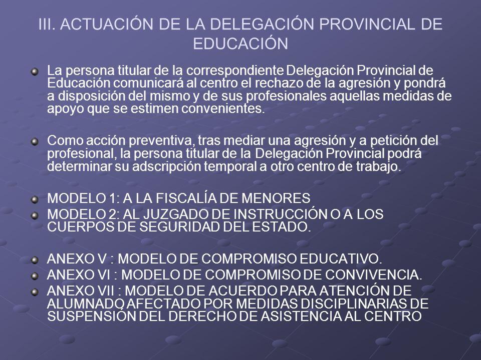 III. ACTUACIÓN DE LA DELEGACIÓN PROVINCIAL DE EDUCACIÓN La persona titular de la correspondiente Delegación Provincial de Educación comunicará al cent