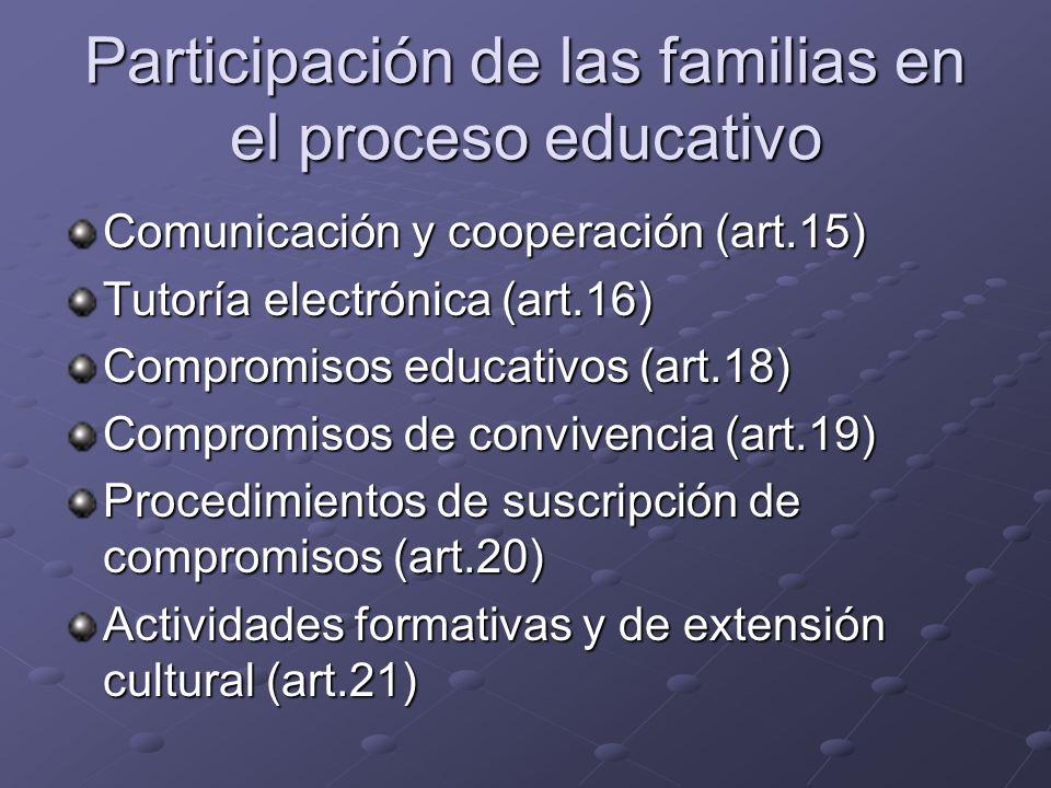 Participación de las familias en el proceso educativo Comunicación y cooperación (art.15) Tutoría electrónica (art.16) Compromisos educativos (art.18)