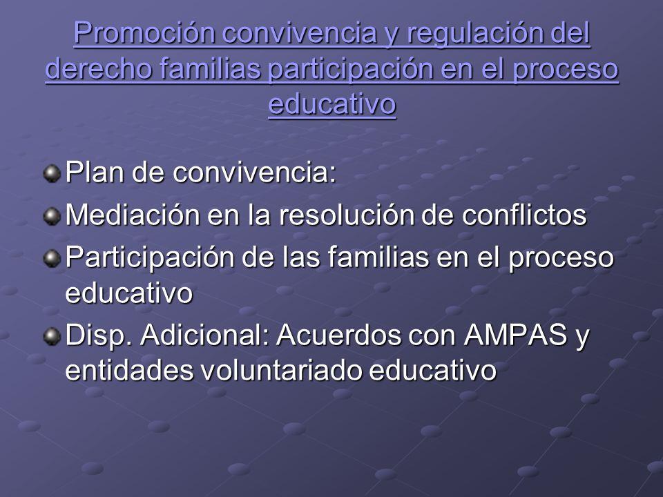 Promoción convivencia y regulación del derecho familias participación en el proceso educativo Promoción convivencia y regulación del derecho familias