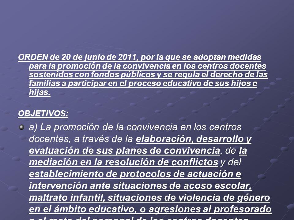 ORDEN de 20 de junio de 2011, por la que se adoptan medidas para la promoción de la convivencia en los centros docentes sostenidos con fondos públicos