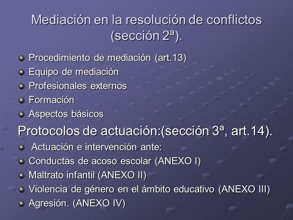 Mediación en la resolución de conflictos (sección 2ª). Procedimiento de mediación (art.13) Equipo de mediación Profesionales externos Formación Aspect