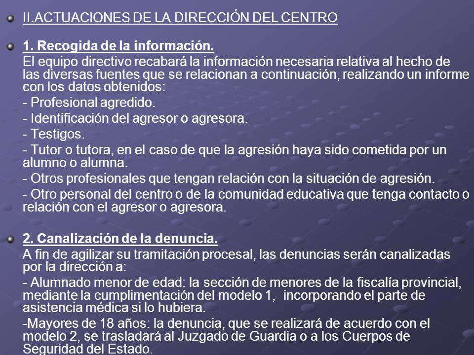 II.ACTUACIONES DE LA DIRECCIÓN DEL CENTRO 1. Recogida de la información. El equipo directivo recabará la información necesaria relativa al hecho de la