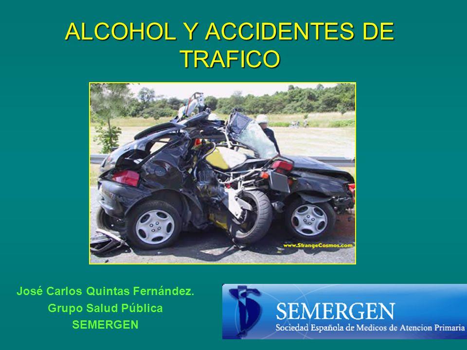 ALCOHOL Y CONDUCCIÓN Conducir bajo los efectos del alcohol es responsable del: 30-50% de los accidentes con víctimas mortales.