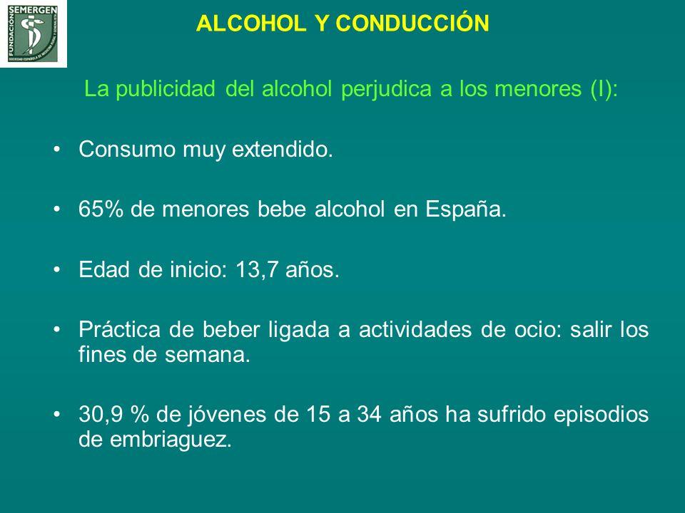 ALCOHOL Y CONDUCCIÓN La publicidad del alcohol perjudica a los menores (I): Consumo muy extendido. 65% de menores bebe alcohol en España. Edad de inic
