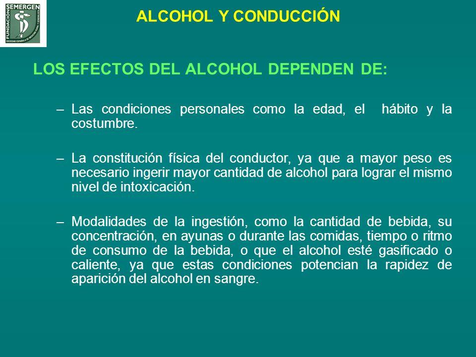 ALCOHOL Y CONDUCCIÓN LOS EFECTOS DEL ALCOHOL DEPENDEN DE: –Las condiciones personales como la edad, el hábito y la costumbre. –La constitución física