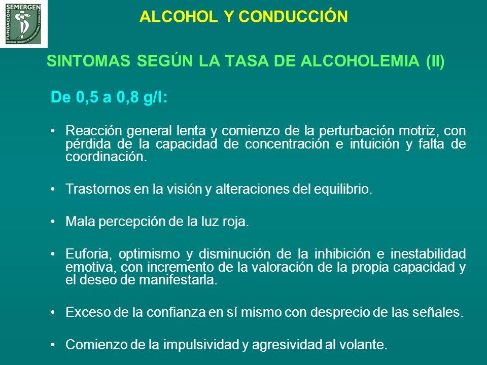 ALCOHOL Y CONDUCCIÓN SINTOMAS SEGÚN LA TASA DE ALCOHOLEMIA (II) De 0,5 a 0,8 g/l: Reacción general lenta y comienzo de la perturbación motriz, con pér