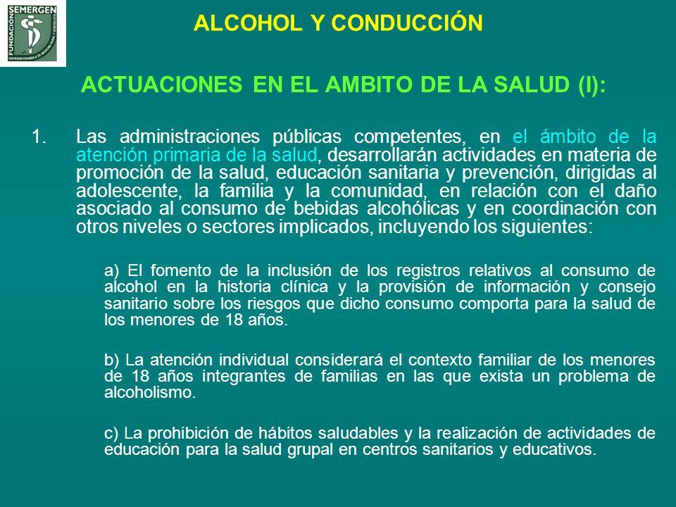 ALCOHOL Y CONDUCCIÓN ACTUACIONES EN EL AMBITO DE LA SALUD (I): 1.Las administraciones públicas competentes, en el ámbito de la atención primaria de la
