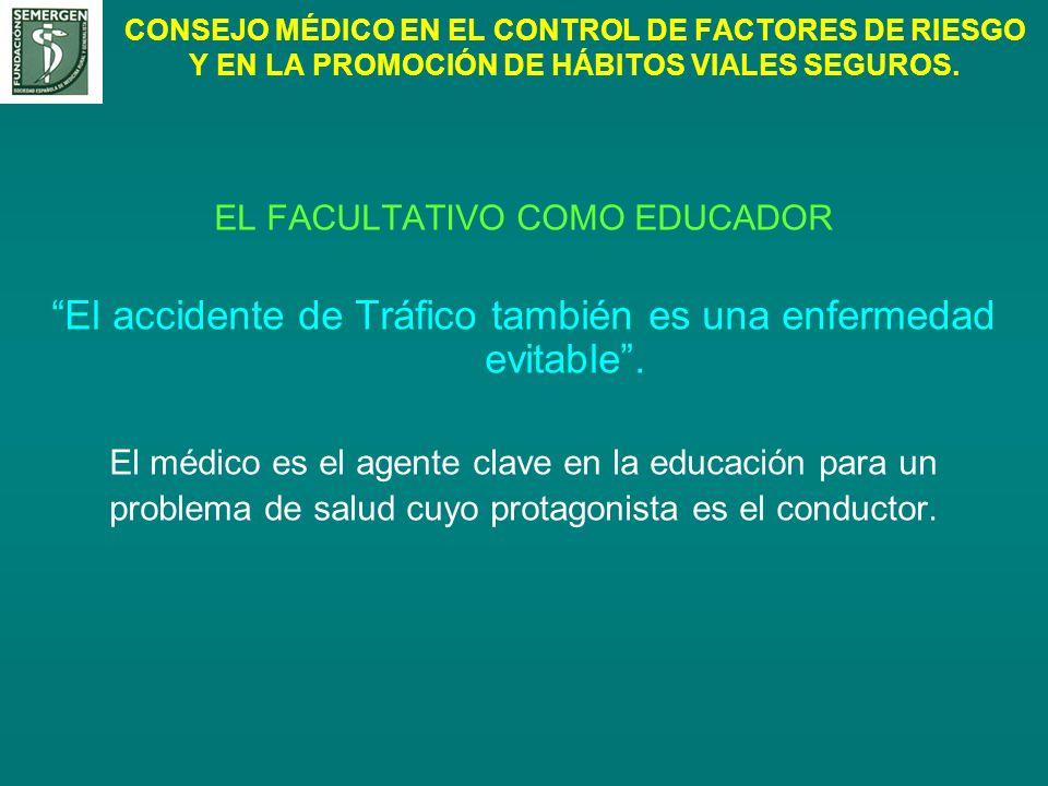 CONSEJO MÉDICO EN EL CONTROL DE FACTORES DE RIESGO Y EN LA PROMOCIÓN DE HÁBITOS VIALES SEGUROS. EL FACULTATIVO COMO EDUCADOR El accidente de Tráfico t