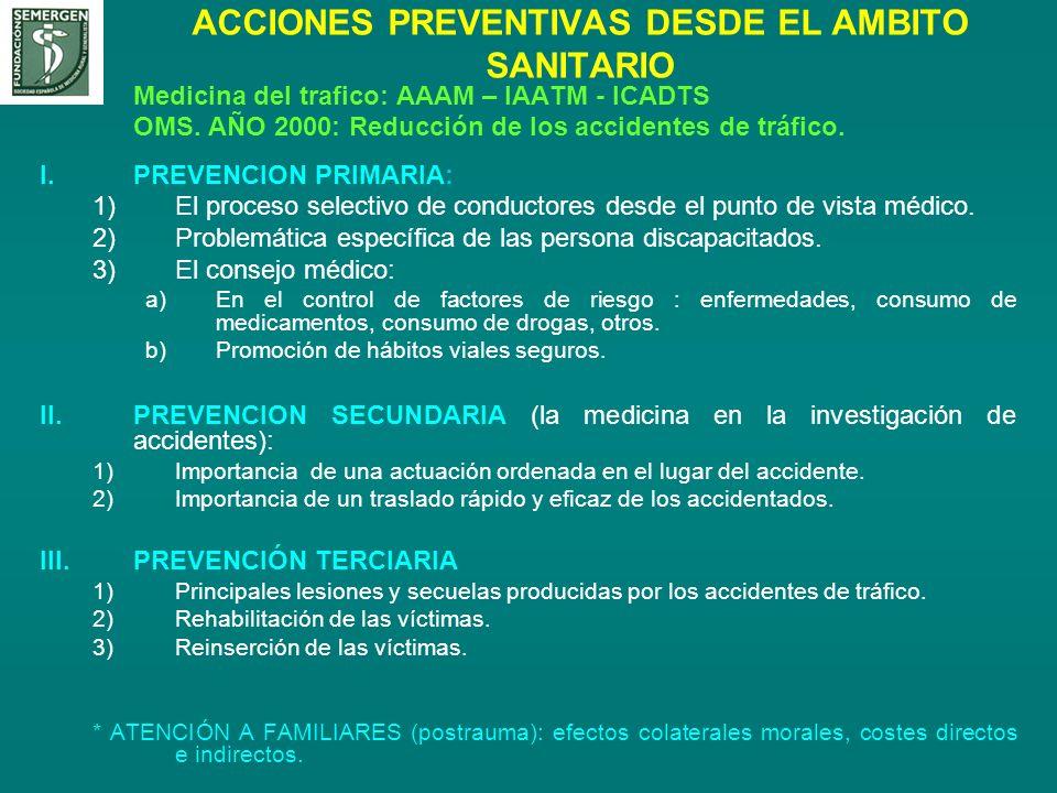 ACCIONES PREVENTIVAS DESDE EL AMBITO SANITARIO Medicina del trafico: AAAM – IAATM - ICADTS OMS. AÑO 2000: Reducción de los accidentes de tráfico. I.PR