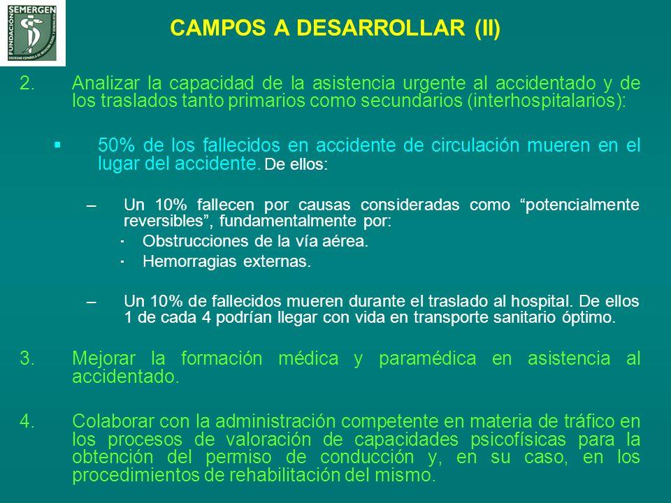 CAMPOS A DESARROLLAR (II) 2.Analizar la capacidad de la asistencia urgente al accidentado y de los traslados tanto primarios como secundarios (interho