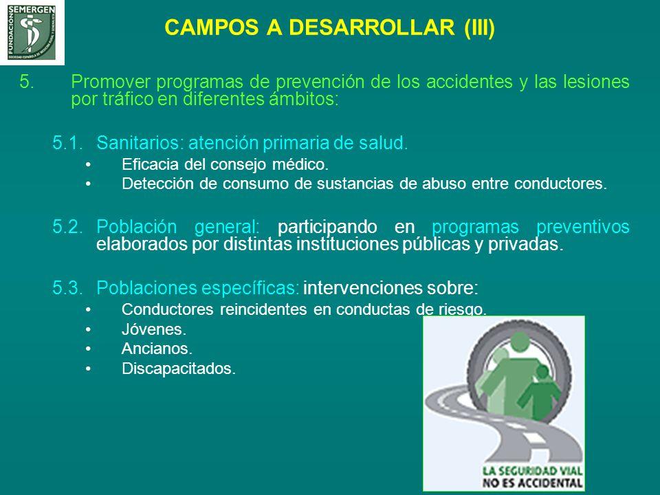 CAMPOS A DESARROLLAR (III) 5.Promover programas de prevención de los accidentes y las lesiones por tráfico en diferentes ámbitos: 5.1.Sanitarios: aten