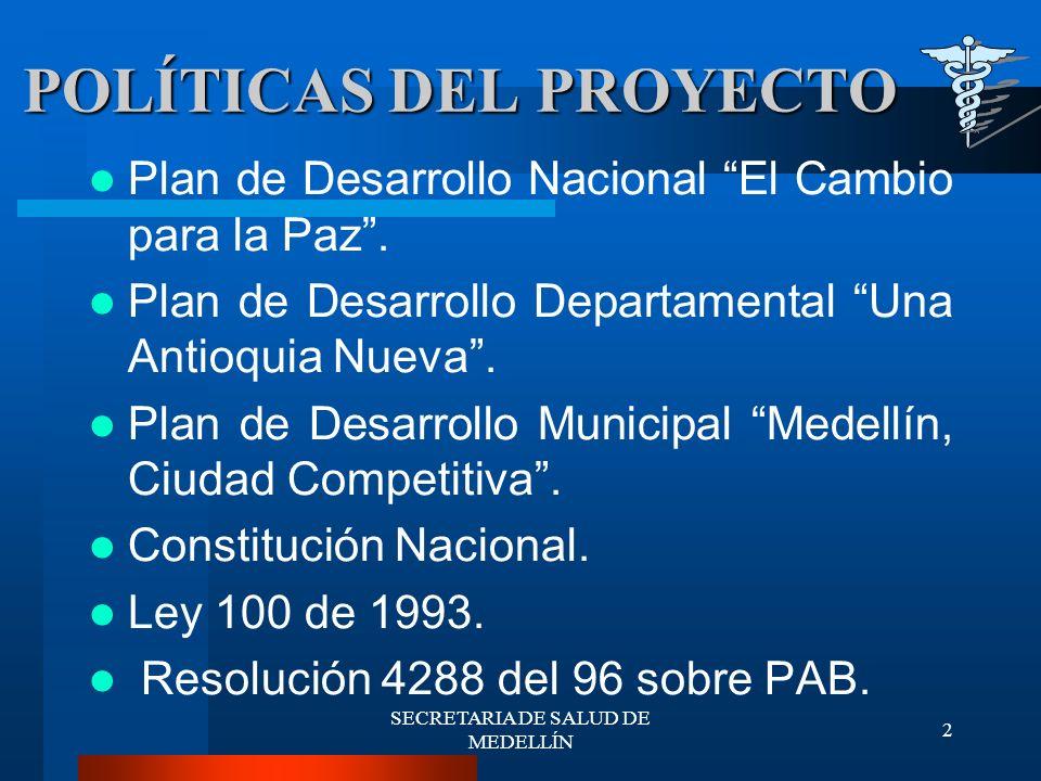 SECRETARIA DE SALUD DE MEDELLÍN 33 COSTO TOTAL DE VIGILANCIA Y CONTROL El Costo del Proyecto es Financiado con recursos del Sistema General de Participaciones y asciende a $1.499.000.000, Contratado con la E.S.E.